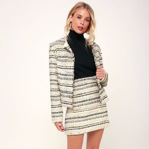 Collins Ivory Tweed Striped Jacket/Skirt NWT SM